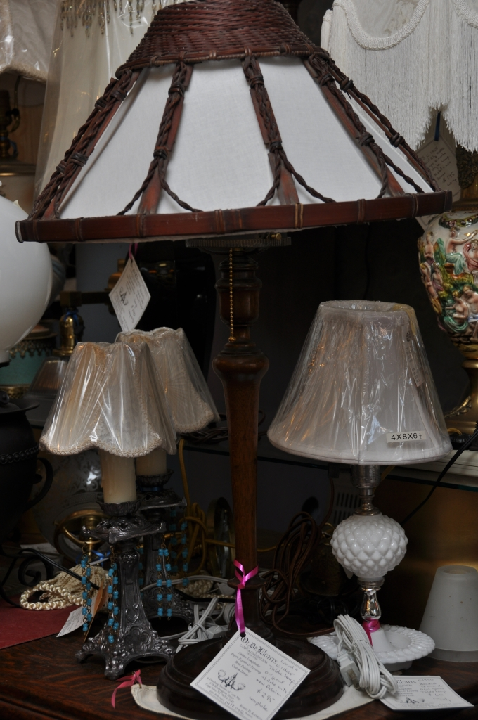 Oldelights table lamp c1950s glass table lamp on far right 1950s capo style lamp with fringed morlee shade aloadofball Images